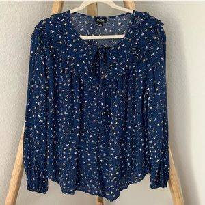a.n.a. Navy Floral Tie Neck Long Sleeve Blouse